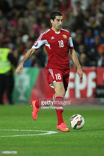 Armenia's forward Henrikh Mkhitaryan during the EURO 2016 qualification match between Portugal and Armenia at the Estadio do Algarve on November 14...