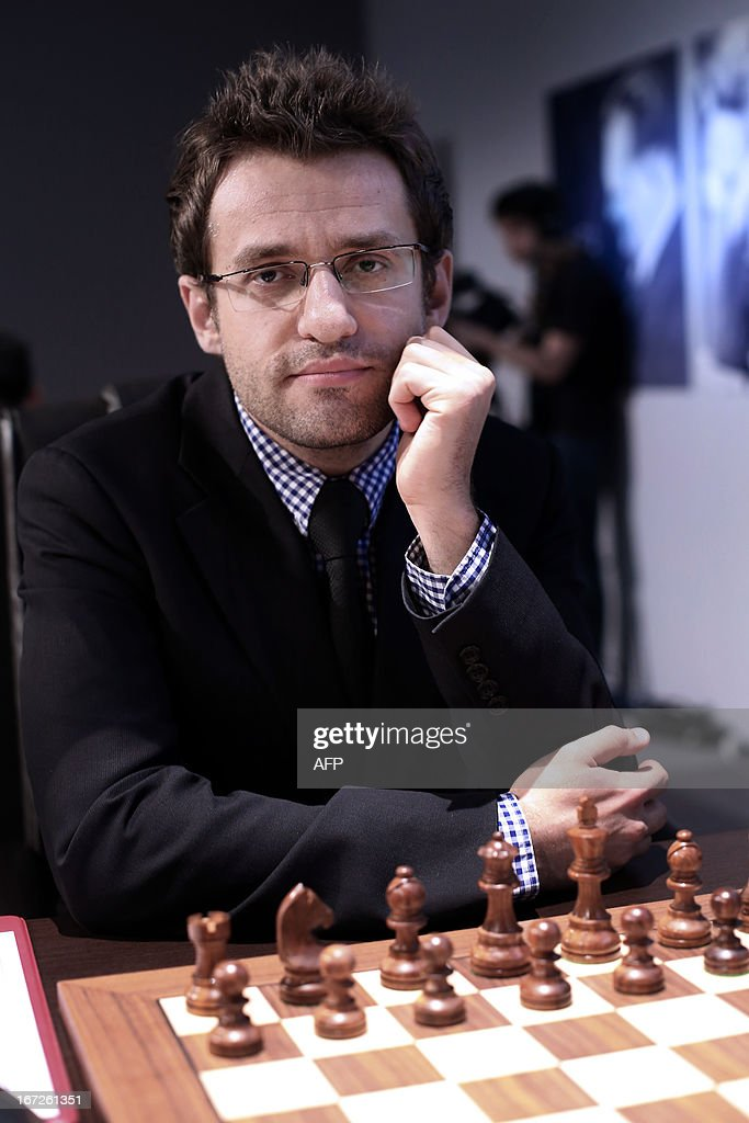 Armenia's Levon Aronian concentrates waits for the start of his round 3 game of the Alekhine Memorial chess tournament on April 23, 2013 in Paris. The tournament is a 10-player single round competition, with the first half held in Paris from April 20 to 25, and the second half in the Russian State Museum in St. Petersburg from April 26 to May 1st.