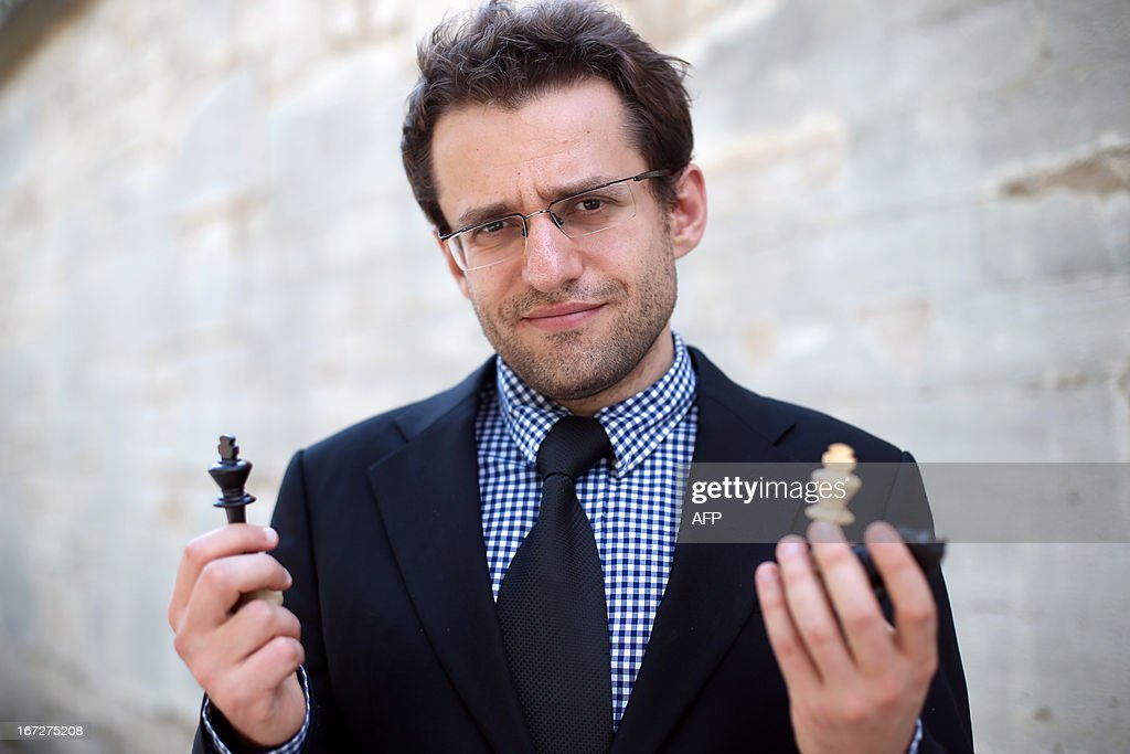 Armenia's Levon Aronian poses during the Alekhine Memorial chess tournament on April 23, 2013 in Paris. The tournament is a 10-player single round competition, with the first half held in Paris from April 20 to 25, and the second half in the Russian State Museum in St. Petersburg from April 26 to May 1st.