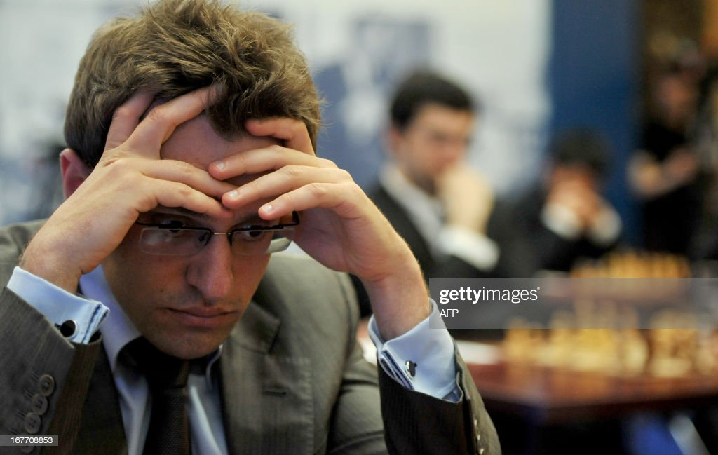 Armenia's Levon Aronian takes part in the Alekhine Memorial chess tournament in St.Petersburg, on April 28, 2013.