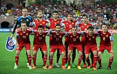 Armenia's players pose for a team photo prior to the UEFA Euro 2016 qualifying round Group I football match between Armenia and Portugal in Yerevan...