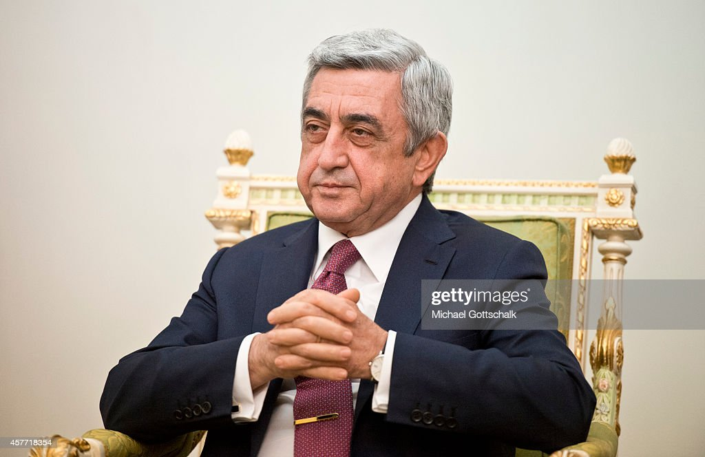 Armenias President Serge Sargsyan looks on in the presidents residence on October 23, 2014 in Yerevan, Armenia.