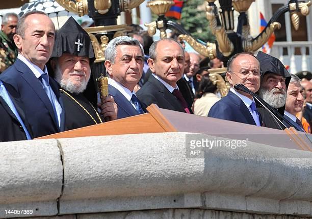 Armenia's President Serzh Sarkisian the Armenian Apostolic Church leader Catholicos Garegin II and President of Azerbaijan's breakaway region of...