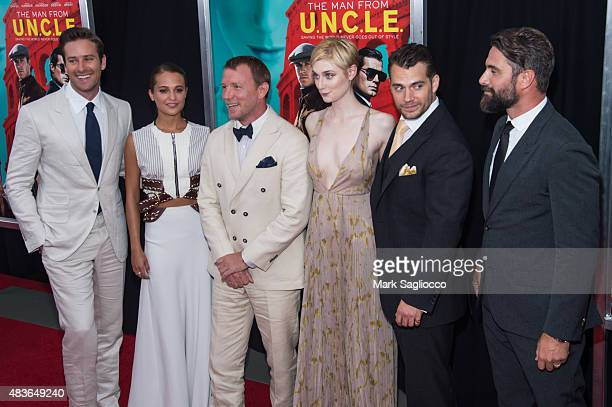 Armie Hammer Alicia Vikander Guy Ritchie Elizabeth Debicki Henry Cavill and Luca Calvani attend 'The Man From UNCLE' New York Premiere at the...