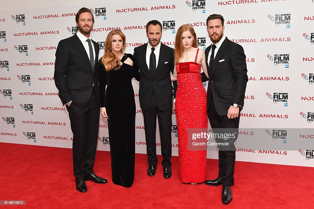 Armie Hammer, Amy Adams, Tom Ford, Ellie Bamber and Aaron Taylor-Johnson attend the 'Nocturnal Animals' Headline Gala screening during the 60th BFI London Film Festival at Odeon Leicester Square on October 14, 2016 in London, England.