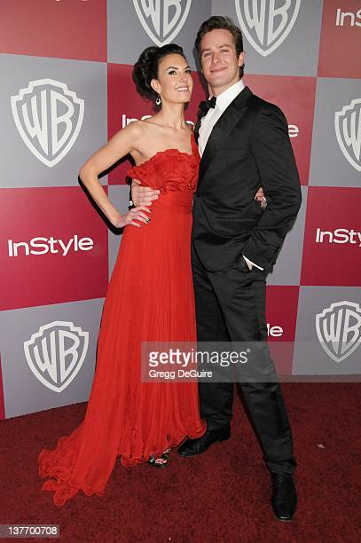 Armie Hammer and Elizabeth Chambers arrive at the 12th Annual Warner Bros and Instyle PostGolden Globe Party at the Beverly Hilton Hotel on January...