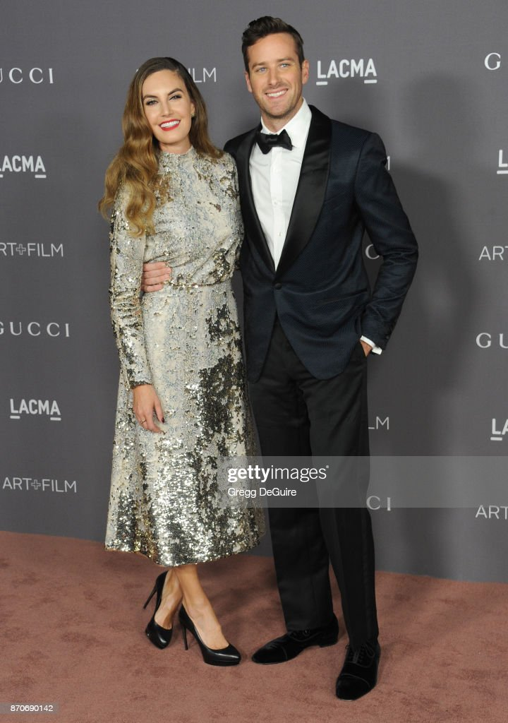 Armie Hammer and Elizabeth Chambers arrive at the 2017 LACMA Art + Film Gala honoring Mark Bradford and George Lucas at LACMA on November 4, 2017 in Los Angeles, California.