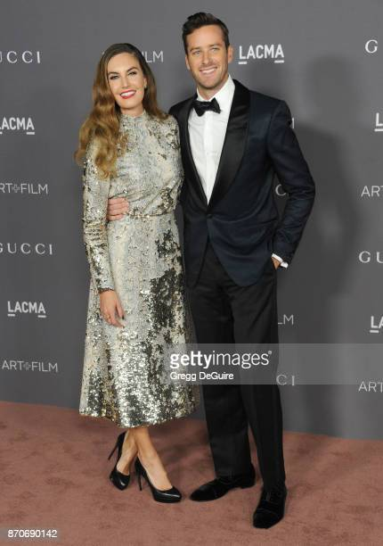 Armie Hammer and Elizabeth Chambers arrive at the 2017 LACMA Art Film Gala honoring Mark Bradford and George Lucas at LACMA on November 4 2017 in Los...