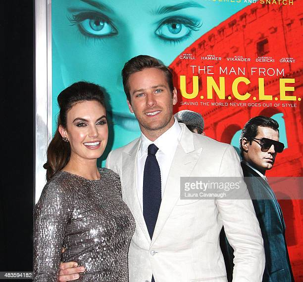 Armie Hammer and Elizabeth Chambers attend 'The Man From UNCLE' New York Premiere Inside Arrivals at Ziegfeld Theater on August 10 2015 in New York...