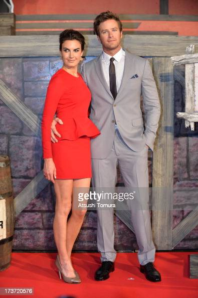Armie Hammer and Elizabeth Chambers attends the 'Lone Ranger' Japan Premiere at Roppongi Hills on July 17 2013 in Tokyo JapanThe film will open on...