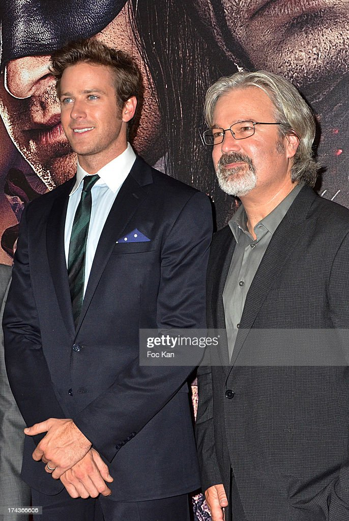 <a gi-track='captionPersonalityLinkClicked' href=/galleries/search?phrase=Armie+Hammer&family=editorial&specificpeople=5313113 ng-click='$event.stopPropagation()'>Armie Hammer</a> and <a gi-track='captionPersonalityLinkClicked' href=/galleries/search?phrase=Gore+Verbinski&family=editorial&specificpeople=538751 ng-click='$event.stopPropagation()'>Gore Verbinski</a> attend the Paris Premiere of 'The Lone Ranger' at Cinema UGC Normandie on July 24, 2013 in Paris, France.