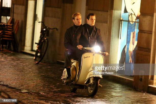 Armie Hammer and Henry Cavill filming 'Man from Uncle' at Via Del Corso on October 3 2013 in Rome Italy
