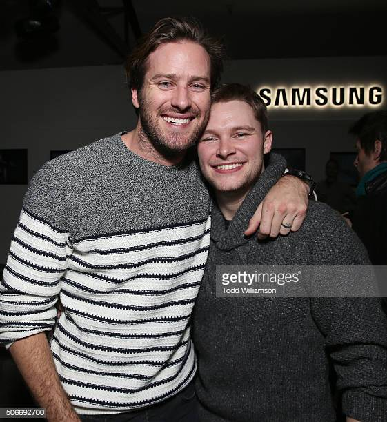Armie Hammer and Jack Reynor attend the The SING STREET Party presented by Samsung and The Weinstein Company on January 24 2016 in Park City Utah