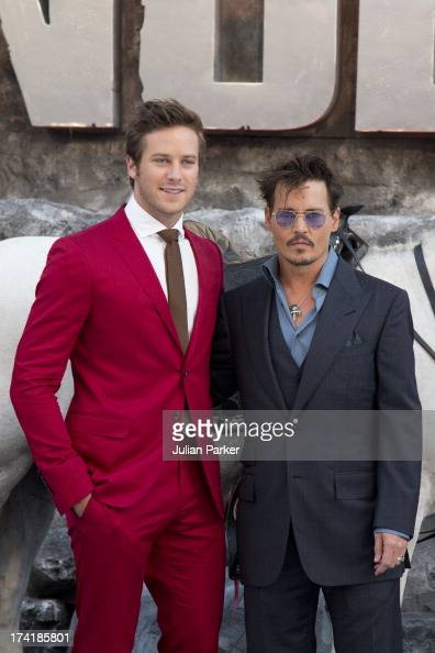 Armie Hammer and Johnny Depp attend the UK Premiere of 'The Lone Ranger' at Odeon Leicester Square on July 21 2013 in London England