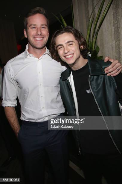 Armie Hammer and Timothee Chalamet attend Calvin Klein and The Cinema Society host the after party for Sony Pictures Classics' 'Call Me By Your Name'...