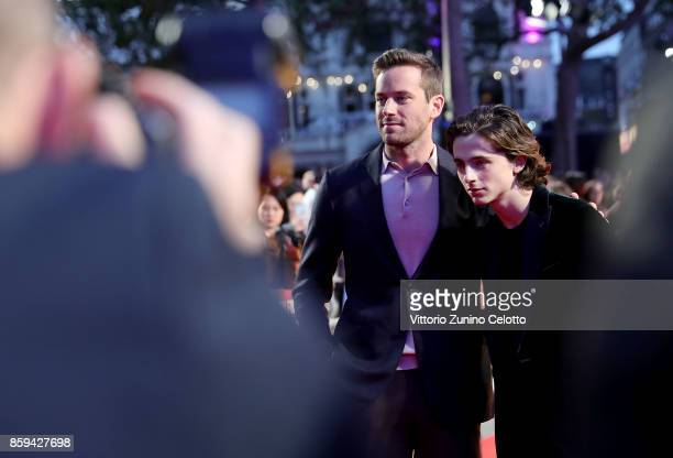 Armie Hammer and Timothee Chalamet attend the Mayor Of London Gala UK Premiere of 'Call Me By Your Name' during the 61st BFI London Film Festival on...