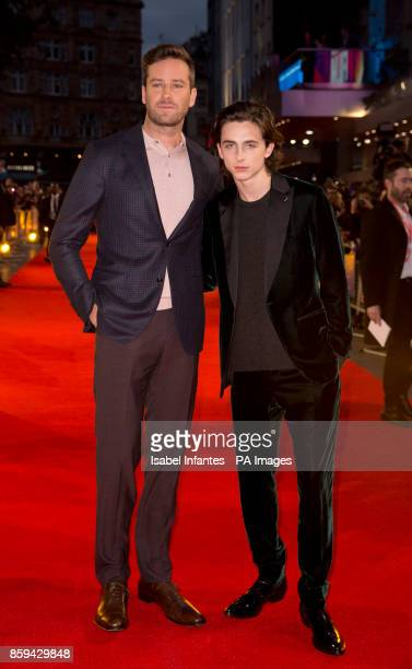 Armie Hammer and Timothee Chalamet attend the premiere of Call Me By My Name as part of the BFI London Film Festival at Odeon Leicester Square London