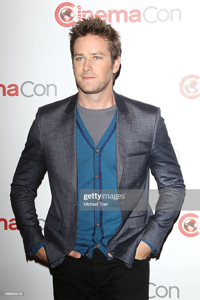 <a gi-track='captionPersonalityLinkClicked' href=/galleries/search?phrase=Armie+Hammer&family=editorial&specificpeople=5313113 ng-click='$event.stopPropagation()'>Armie Hammer</a> appears at a Walt Disney Studios Motion Pictures presentation to promote the upcoming film 'The Lone Ranger' held at The Colosseum at Caesars Palace during CinemaCon, the official convention of the National Association of Theatre Owners on April 17, 2013 in Las Vegas, Nevada.