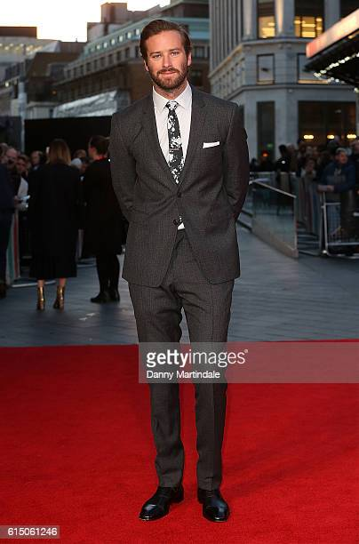 Armie Hammer attends the 'Free Fire' Closing Night Gala during the 60th BFI London Film Festival at Odeon Leicester Square on October 16 2016 in...