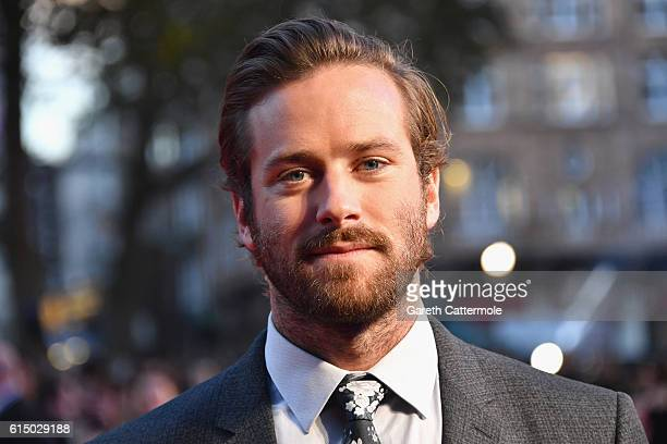 Armie Hammer attends the 'Free Fire' Closing Night Gala screening during the 60th BFI London Film Festival at Odeon Leicester Square on October 16...
