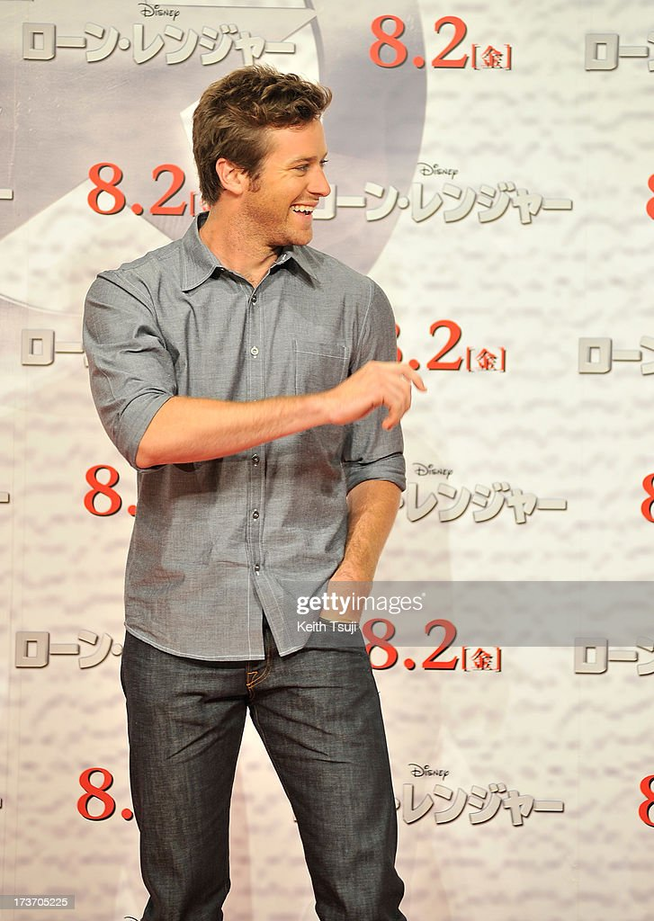 <a gi-track='captionPersonalityLinkClicked' href=/galleries/search?phrase=Armie+Hammer&family=editorial&specificpeople=5313113 ng-click='$event.stopPropagation()'>Armie Hammer</a> attends the 'Lone Ranger' photo call at Park Hyatt Tokyo on July 17, 2013 in Tokyo, Japan. The film will open on August 2 in Japan.