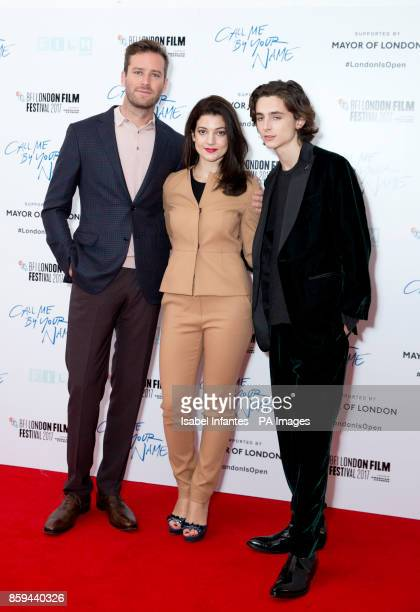 Armie Hammer Esther Garrel and Timothee Chalamet attend the premiere of Call Me By My Name as part of the BFI London Film Festival at Odeon Leicester...