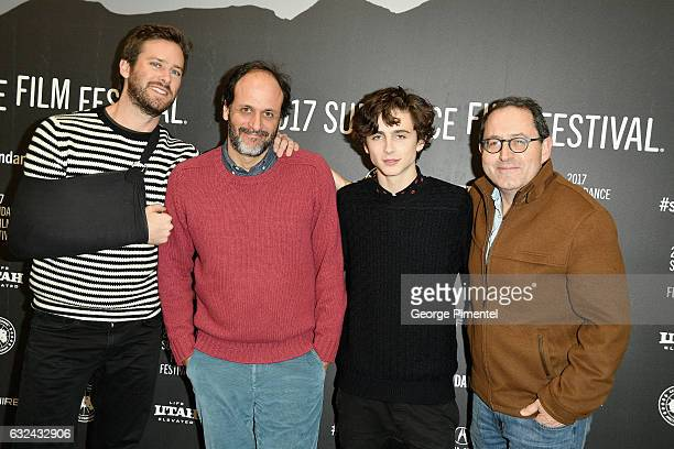 Armie Hammer Flimmaker Luca Guadagnino Timothee Chalamet attend the 'Call Me By Your Name' Premiere on day 4 of the 2017 Sundance Film Festival at...
