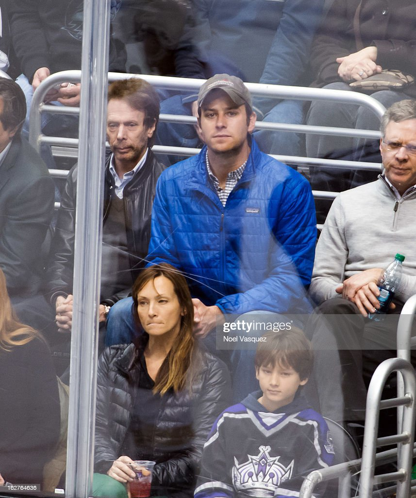 <a gi-track='captionPersonalityLinkClicked' href=/galleries/search?phrase=Armie+Hammer&family=editorial&specificpeople=5313113 ng-click='$event.stopPropagation()'>Armie Hammer</a> is sighted at a hockey game between the Anahiem Ducks and Los Angeles Kings at Staples Center on February 25, 2013 in Los Angeles, California.