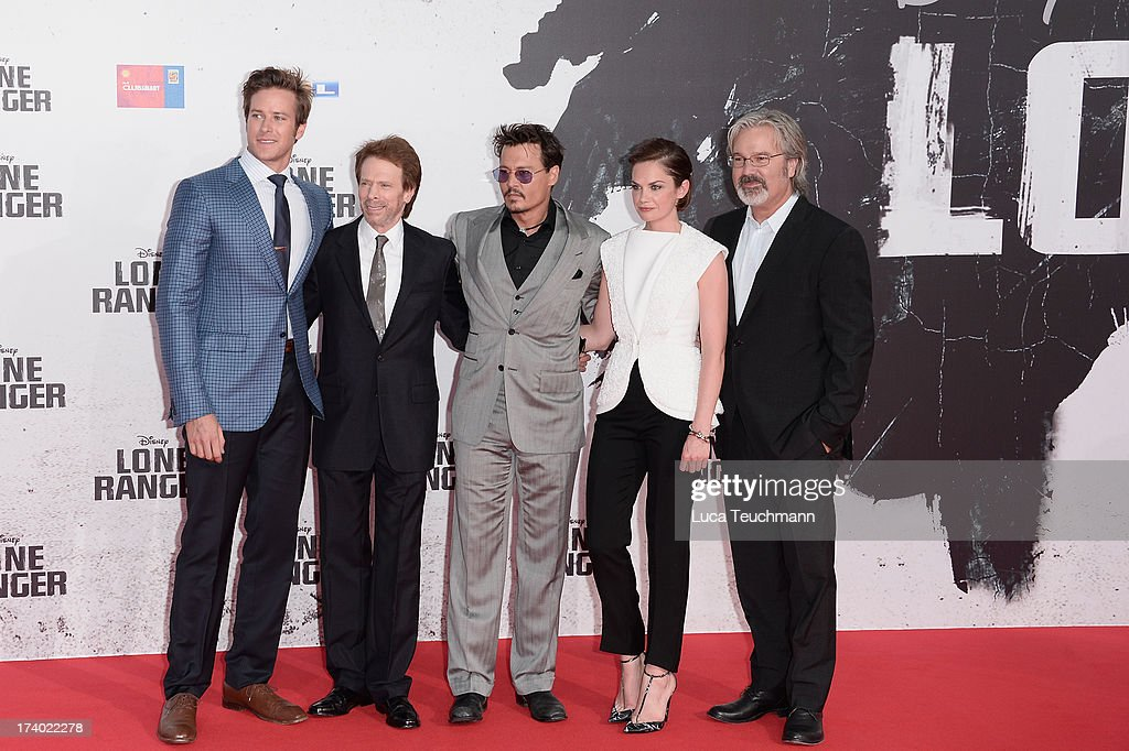 Armie Hammer Jerry Bruckheimer Johnny Depp Ruth Wilson and Gore Verbinski attend the premiere of 'Lone Ranger' at Sony Centre on July 19 2013 in...