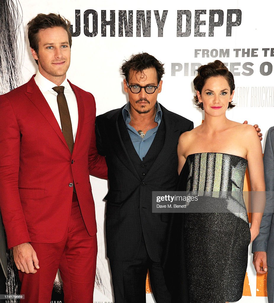 Armie Hammer, Johnny Depp and Ruth Wilson attend the UK Premiere of 'The Lone Ranger' at Odeon Leicester Square on July 21, 2013 in London, England.