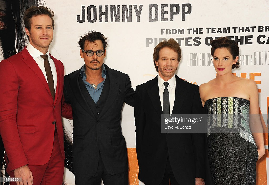 Armie Hammer, Johnny Depp, Jerry Bruckheimer and Ruth Wilson attend the UK Premiere of 'The Lone Ranger' at Odeon Leicester Square on July 21, 2013 in London, England.