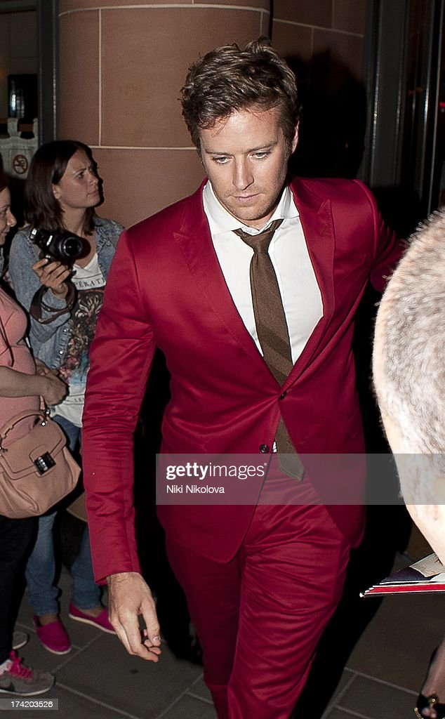 <a gi-track='captionPersonalityLinkClicked' href=/galleries/search?phrase=Armie+Hammer&family=editorial&specificpeople=5313113 ng-click='$event.stopPropagation()'>Armie Hammer</a> leaving the C Restaurant, Mayfair on July 21, 2013 in London, England.
