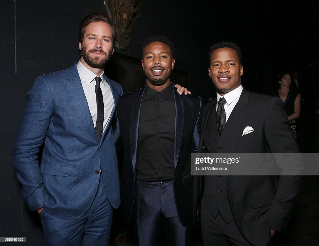 Armie Hammer Michael B Jordan and Nate Parker attend Sundance Institute NIGHT BEFORE NEXT at The Theatre At The Ace Hotel on August 11 2016 in Los...