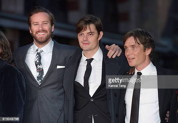 Armie Hammer Sam Riley and Cillian Murphy attend the 'Free Fire' Closing Night Gala during the 60th BFI London Film Festival at Odeon Leicester...