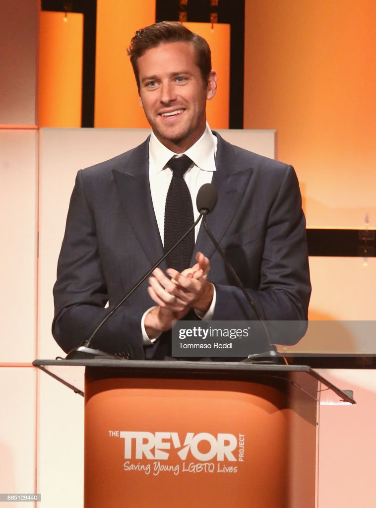 Armie Hammer speaks onstage during The Trevor Project's 2017 TrevorLIVE LA Gala at The Beverly Hilton Hotel on December 3, 2017 in Beverly Hills, California.