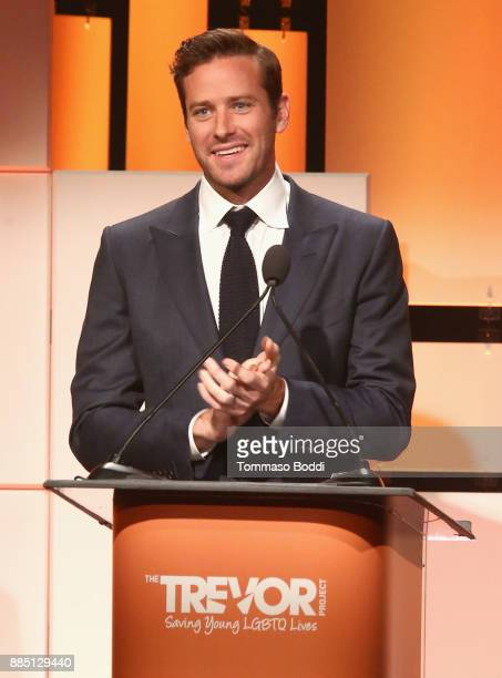 Armie Hammer speaks onstage during The Trevor Project's 2017 TrevorLIVE LA Gala at The Beverly Hilton Hotel on December 3 2017 in Beverly Hills...