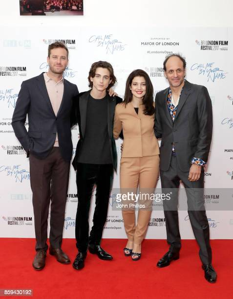 Armie Hammer Timothee Chalamet Esther Garrel and Luca Guadagnino attend the Mayor Of London Gala UK Premiere of 'Call Me By Your Name' during the...