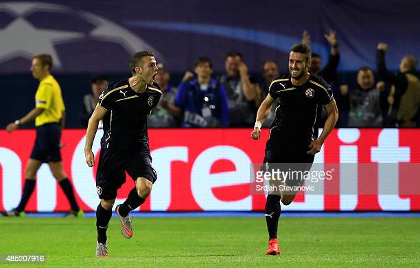 Armin Hodzic of Dinamo Zagreb celebrate scoring the goal with Ivo Pinto during the UEFA Champions League Qualifying Round Play Off Second Leg match...