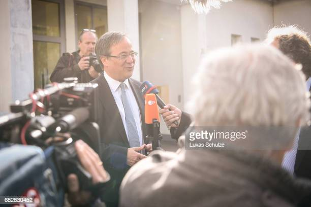 Armin Laschet lead candidate of the German Christian Democrats gives an interview after casting his ballot in state elections in North...