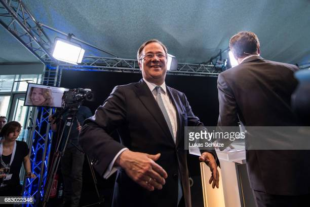 Armin Laschet lead candidate of the German Christian Democrats gives an interview after CDU won the state elections in North RhineWestphalia on May...