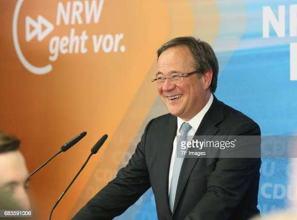 Armin Laschet lead candidate of the German Christian Democrats speaks to supporters after initial results in state elections in North RhineWestphalia...