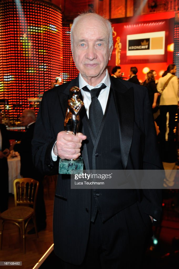 Armin Mueller-Stahl poses with the 'Platin Romy' at the 'Romy Award 2013' at Hofburg Vienna on April 20, 2013 in Vienna, Austria.