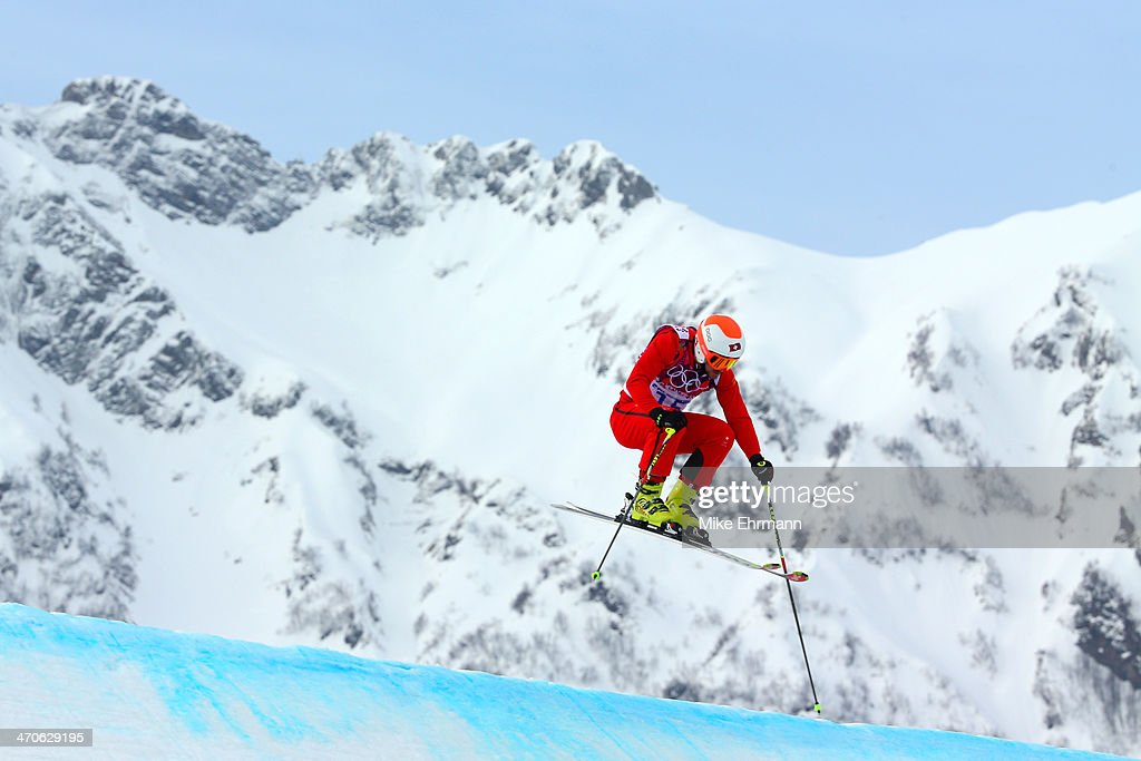 <a gi-track='captionPersonalityLinkClicked' href=/galleries/search?phrase=Armin+Niederer&family=editorial&specificpeople=5670393 ng-click='$event.stopPropagation()'>Armin Niederer</a> of Switzerland competes during the Freestyle Skiing Men's Ski Cross Seeding on day 13 of the 2014 Sochi Winter Olympic at Rosa Khutor Extreme Park on February 20, 2014 in Sochi, Russia.