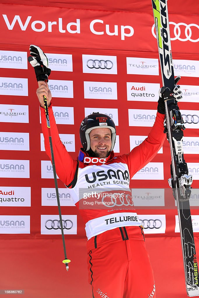 Armin Niederer of Switzerland takes the podium in third place and won overall points leader bib in the Audi FIS Ski Cross World Cup on December 12, 2012 in Telluride, Colorado.