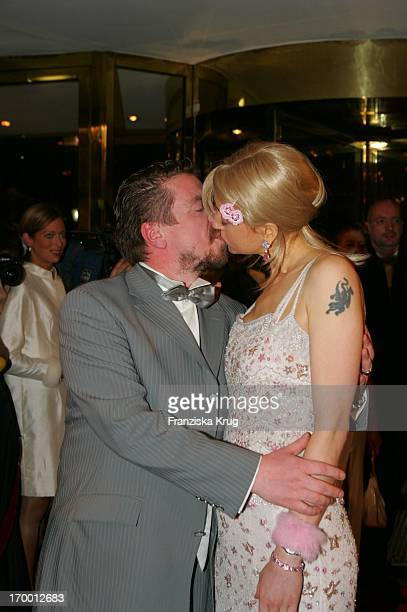 Armin Rohde Kisses wife Angela Baronin Von Schilling at The Arrival For German Film Ball in the Hotel Bayerischer Hof in Munich