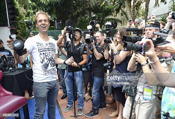 Armin van Buuren attends the launch of the Philips A5PRO Professional DJ Headphones at Club Baoli on March 27 2014 in Miami Florida