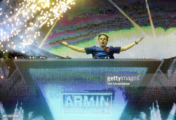 Armin Van Buuren performs during Ultra Music Festival at Bayfront Park Amphitheater on March 29 2014 in Miami Florida