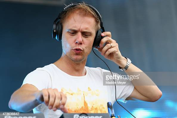 Armin van Buuren performs in the infield prior to the 140th running of the Preakness Stakes at Pimlico Race Course on May 16 2015 in Baltimore...
