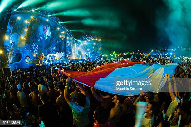 Armin van Buuren performs live on stage during the second day of the Tomorrowland music festival at Parque Maeda Itu on April 22 2016 in Sao Paulo...