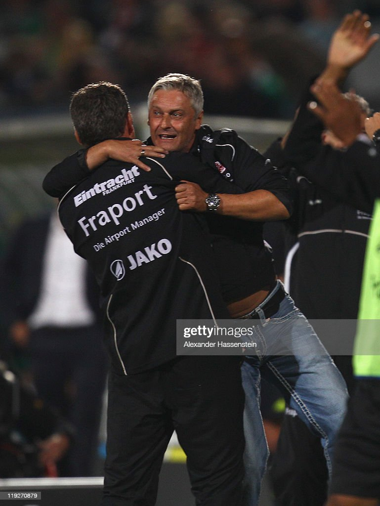 <a gi-track='captionPersonalityLinkClicked' href=/galleries/search?phrase=Armin+Veh&family=editorial&specificpeople=683317 ng-click='$event.stopPropagation()'>Armin Veh</a>, head coach of Frankfurt celebrates the winning goal for his team during the Second Bundesliga match between SpVgg Greuther Fuerth and Eintracht Frankfurt at Trolli Arena on July 15, 2011 in Fuerth, Germany.